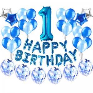 1st Happy Birthday Ballong set i Blå.