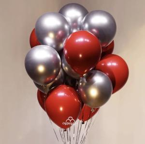 Ballong Bukett i Silver/Cherry Röd. 10 pack.