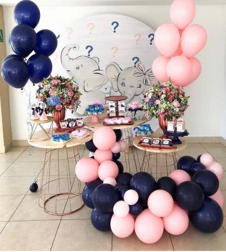 DIY Ballongbåge - Pastell Rosa/Marin Blå Chrome. 60 Delar