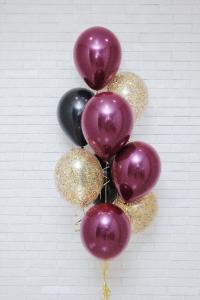 Ballong bukett i Rosa/Svart/Guld. 10 pack.