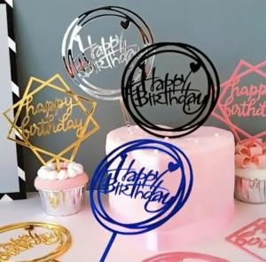 Cake Topper Happy Birthday I Silver.