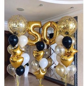 50th Birthday Ballong Bukett i Guld.