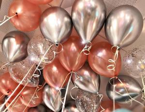 Ballong Bukett i RosaGuld/Silver. 15 Delar.