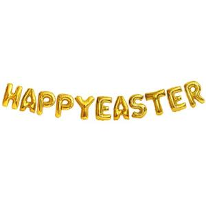 Happy Easter Folie Ballonggirlang i Guld. 81cm