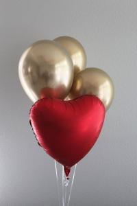 Ballong Bukett Hjärta/Chrome