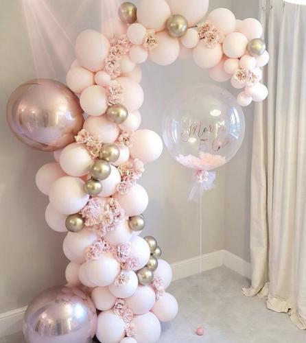 DIY Ballongbåge - Fancy Pastell Ljus Rosa. 73 Delar