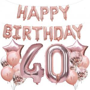 40th HAPPY BIRTHDAY Ballong set I Rosaguld.