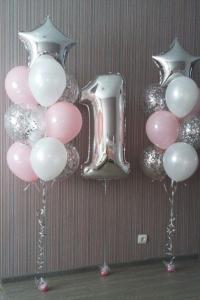1st Birthday Ballong Bukett i Silver/Ljus Rosa.