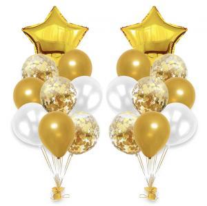 Ballong Bukett i Guld/Pärlvit.  20 delar.