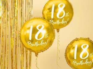 18th Birthday Folie Ballong i Guld. 45cm