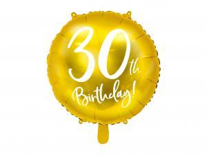 30th Birthday Folie Ballong i Guld. 45cm