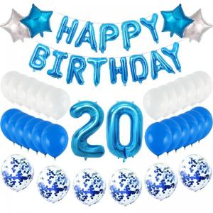 20th HAPPY BIRTHDAY Ballong set i Blå/Silver.