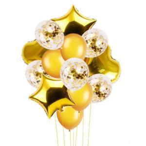 Ballong Buket i Guld. 14 Pack