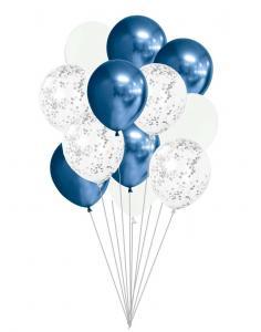Ballong Bukett I Silver/ Blå Chrome. 15 Pack