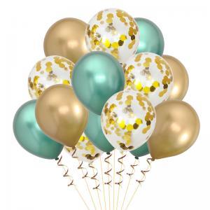 Ballong Bukett Guld/Grön Chrome. 15 Pack