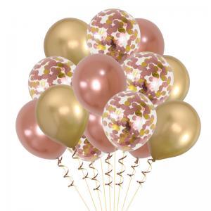 Ballong Bukett Rosaguld/Guld Chrome. 15 Pack