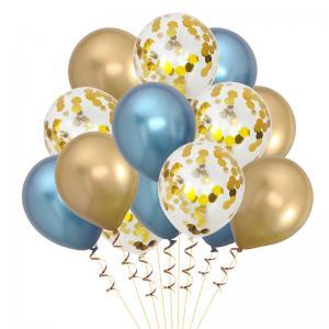 Ballong Bukett Guld/Blå Chrome. 15 Pack