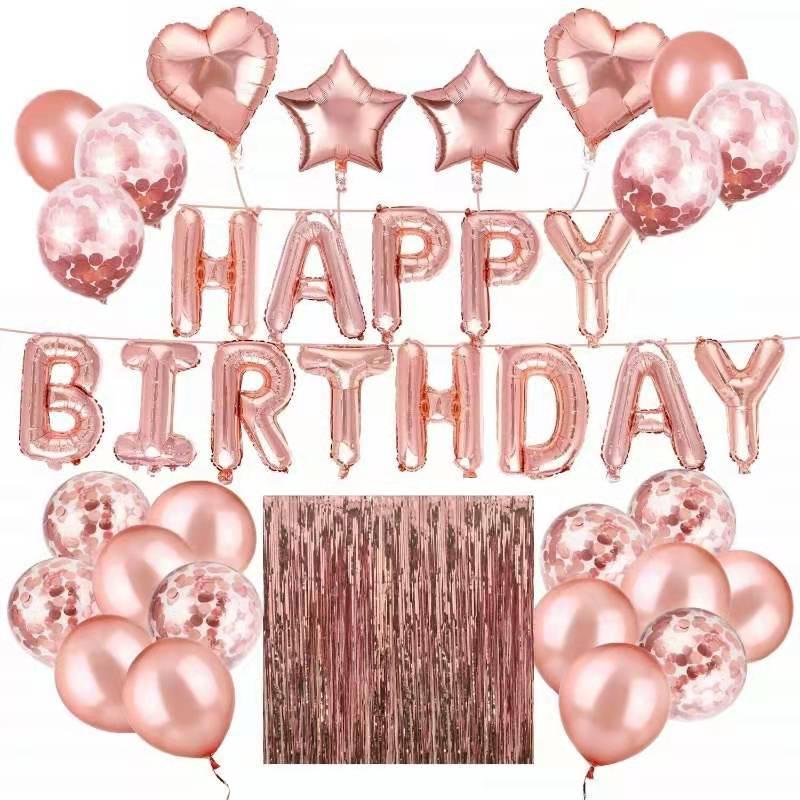 Happy Birthday All Inklusive Ballong Dekoration Set i RosaGuld.