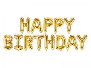 Happy Birthday Folie Ballonggirlang i Guld. 41cm