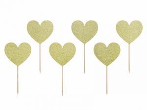 Cupcake Topper Hjärta i Guld. 6 styck. 11cm