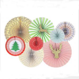 Party fan 8 pack julpapper pinwheel dekorationsset