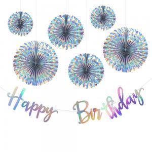 Holografiska Rosetter med Happy Birthday Girlang. 7 pack