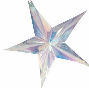 Holografisk silverstjärna neon paper fans i 40cm