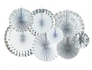 Metalliska Silver Folie Rosetter. 8 pack