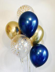 Ballong bukett i Midnight Blå/Guld. 10 pack.