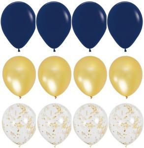 Ballong Bukett i Marinblå/Guld. 15 Pack