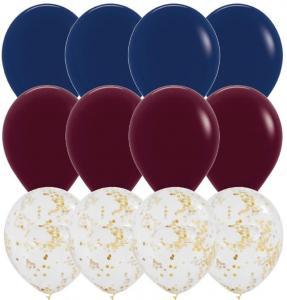 Ballong Bukett i Marinblå/Vinröd/Guld. 15 Pack