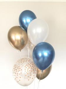 Ballong bukett i Blå/Guld Chrome. 10 pack.