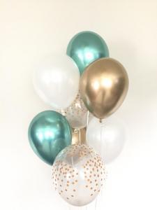 Ballong bukett i Grön/Guld Chrome. 10 pack.