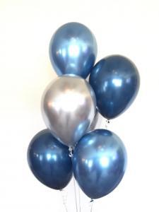 Ballong bukett i Blå/Silver Chrome. 10 pack.