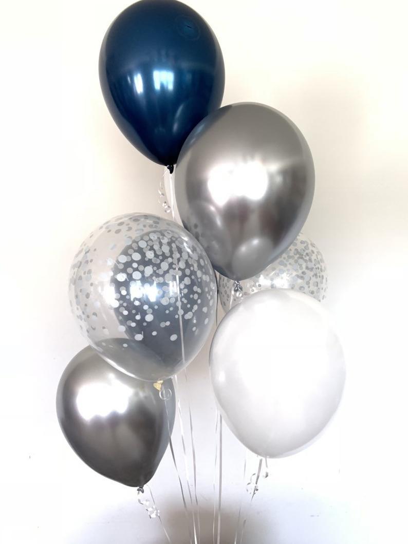 Ballong bukett i Midnight Blå/Silver Chrome. 10 pack