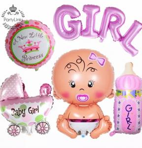 "Baby Shower ""It's A Girl"" Folieballong Dekoration Set. Ekonom Pack."