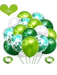 Gröna och Vita Latex och Konfetti ballong Set. 72 pack
