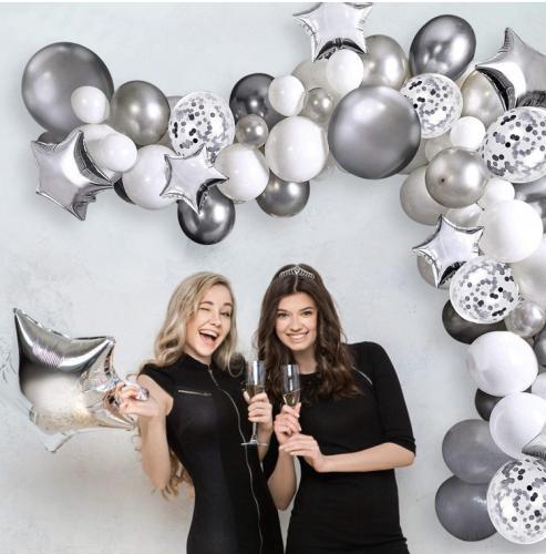 DIY Ballongbåge Silver Chrome. 95 Ballonger