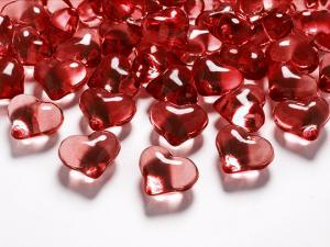 Crystal Hjärta, Röd, 21mm. 30 Styck