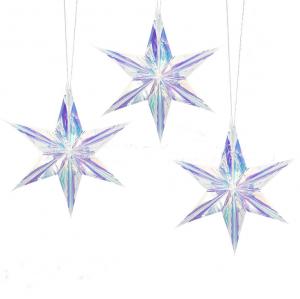 Holografisk Silverstjärna Neon Paper Fans i 15cm