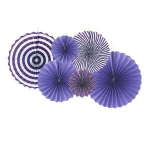 6 Pack Paper Fans i Lila med vita mönster