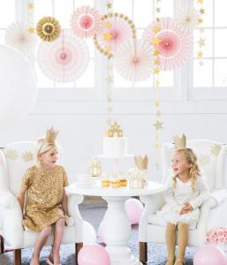Princess Paper fans i Rosa och Guld. 8 pack