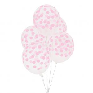 Konfetti Ballonger i Pastell Ljus Rosa. 30cm. 5 Styck