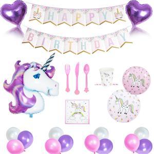 Unicorn Happy Birthday dekoration set med inklusive dukning set. För 12 person. StorPack.
