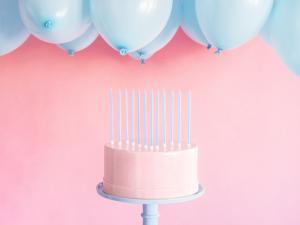 Cake Ljus i ljus blå. 14cm. 12 Styck