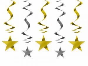 HängDekoration. Guld/Silver Stjärna. 5 Styck. 60cm