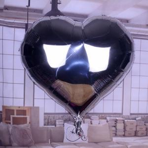 Stort Hjärta Silver Folie Ballong. 91cm.