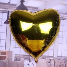 Stort Hjärta Guld Folieballong. 91cm