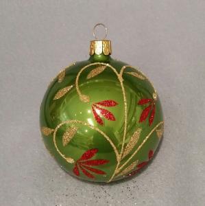 Grön kula med porslinslook dekor guld- och rött glitter