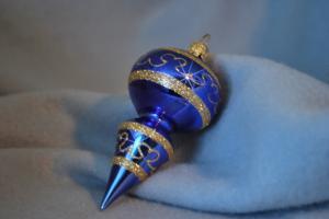 Blank blå tapp 10cm med guldglitter